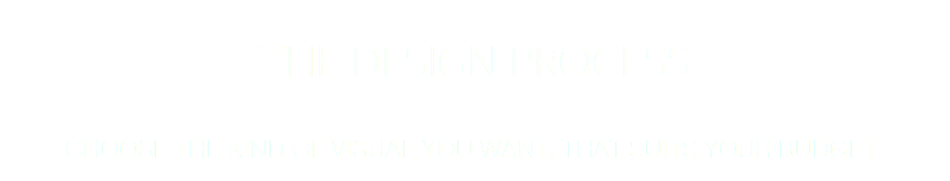 THE DESIGN PROCESS CHOOSE THE KIND OF VISUAL YOU WANT, THAT SUITS YOUR BUDGET.